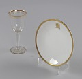 View Glass stemware with gold decoration from Mae's Millinery Shop digital asset number 0