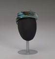 View Teal pillbox hat with bird decoration from Mae's Millinery Shop digital asset number 7