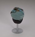 View Teal pillbox hat with bird decoration from Mae's Millinery Shop digital asset number 9