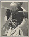 View Photograph of Tuskegee Airman Major Lee Rayford in front of a P-47 Thunderbolt digital asset number 0