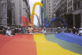 View Photographic slide of gay pride flag banner at a New York City Gay Pride March digital asset number 0