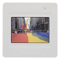 View Photographic slide of gay pride flag banner at a New York City Gay Pride March digital asset number 1