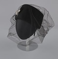 View Black felt hat with veil and ivory bead decoration from Mae's Millinery Shop digital asset number 1