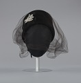 View Black felt hat with veil and ivory bead decoration from Mae's Millinery Shop digital asset number 0