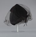View Black felt hat with veil and ivory bead decoration from Mae's Millinery Shop digital asset number 2