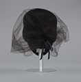 View Black felt hat with veil and ivory bead decoration from Mae's Millinery Shop digital asset number 3
