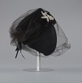 View Black felt hat with veil and ivory bead decoration from Mae's Millinery Shop digital asset number 4