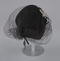 View Black felt hat with veil and ivory bead decoration from Mae's Millinery Shop digital asset number 5