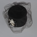 View Black felt hat with veil and ivory bead decoration from Mae's Millinery Shop digital asset number 6