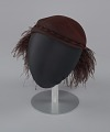 View Dark brown wool felt cap with ostrich plumes from Mae's Millinery Shop digital asset number 1