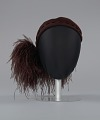 View Dark brown wool felt cap with ostrich plumes from Mae's Millinery Shop digital asset number 2