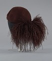 View Dark brown wool felt cap with ostrich plumes from Mae's Millinery Shop digital asset number 4