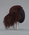 View Dark brown wool felt cap with ostrich plumes from Mae's Millinery Shop digital asset number 5