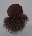 View Dark brown wool felt cap with ostrich plumes from Mae's Millinery Shop digital asset number 6