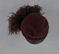 View Dark brown wool felt cap with ostrich plumes from Mae's Millinery Shop digital asset number 7