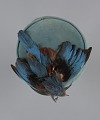 View Teal pillbox hat with bird decoration from Mae's Millinery Shop digital asset number 6