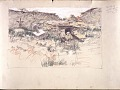 View Scroll of Aragon digital asset: Roll of sketches by Harvey Thomas Dunn, Panel 3, 'Seishprey [sic] 26th Division May 13'