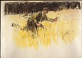 View Scroll of Aragon digital asset: Roll of sketches by Harvey Thomas Dunn, Panel 9, soldiers crossing a field