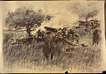 View Scroll of Aragon digital asset: Roll of sketches by Harvey Thomas Dunn, Panel 10, 'July 23 [1918] Our Heavies on the Marne'