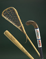 View Field Hockey Stick digital asset: Field Hockey Stick, 1974-78; Baseball bat, Hank Aaron Model, wood; Lacrosse stick