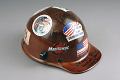 View Iron worker's hard hat digital asset: Ironworker's hard hat, worn during the September 11, 2001 rescue and recovery operation at the World Trade Center site.