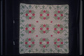 """View 1840 - 1850 Mary Ann Bishop's """"Wreath of Roses"""" Appliqued Quilt digital asset: Overall"""