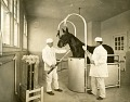 View [Taking blood samples from a horse; b & w photoprint and drawing.] digital asset: [Taking blood samples from a horse; b & w photoprint and drawing.]