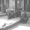 View [Boys playing marbles, New York City : stereoscopic photonegative] digital asset: [Boys playing marbles, New York City : stereoscopic photonegative, 1904.]