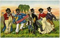 View [African American group playing instruments in a procession, No. 14937 : color cartoon on postcard] digital asset: [African American group playing instruments in a procession, No. 14937 : color cartoon on postcard].