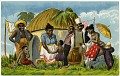 View [African or African American group outside a hut, No. 14941 [caricature on color picture postcard] digital asset: [African or African American group outside a hut, No. 14941 [caricature on color picture postcard].
