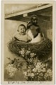 View [Two infants posed as hatchlings in a birds nest, 2002/4 [photographic postcard] digital asset: [Two infants posed as hatchlings in a birds nest, 2002/4 [photographic postcard]