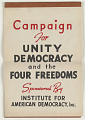 View Campaign for Unity Democracy and the Four Freedoms ... Institute for American Democracy Incorporated digital asset: Campaign for Unity Democracy and the Four Freedoms ... Institute for American Democracy Incorporated