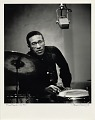 View Max Roach -- NYC [black-and-white photoprint,] digital asset: Roach, Max; Recording Studio, New York City, 1950