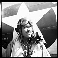 View [American Air Force pilot in front of a fighter plane] [cellulose acetate photonegative] digital asset: [American Air Force pilot in front of a fighter plane] [cellulose acetate photonegative].