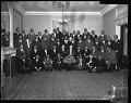 View Alpha Phi Alpha Men Chapter (group and plaque presentation to Dr. Callis), March 1964 [cellulose acetate photonegative] digital asset: Alpha Phi Alpha Men Chapter (group and plaque presentation to Dr. Callis), March 1964 [cellulose acetate photonegative].