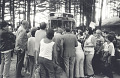 View Photographic History Collection: Henry Horenstein digital asset: Fans surround Ernest Tubb's bus.
