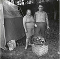 View Photographic History Collection: Henry Horenstein digital asset: Some fans travele  great distances to participate in music festivals, and would camp nearby. This couple  brought a grill to make a meal or two.
