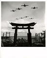 View Photographic History Collection: Carl Mydans digital asset: Planes in formation over a torii gate