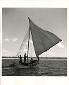 View Photographic History Collection: Carl Mydans digital asset: Bikini Island: Five men sailing