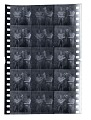 View 45 Pieces of Motion Picture Film by August Plahn digital asset: Strip of 66mm negative motion picture film split into three adjacent frames for color experiments by August Plahn