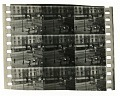 View 45 Pieces of Motion Picture Film by August Plahn digital asset: Strip of 66mm positive motion picture film split into three adjacent frames for color experiments by August Plahn