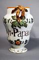 View Syr Papaver Er digital asset: Pitcher with leaf spout and stick handle. Inscription 'Syr Papauer er'