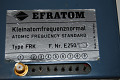 View Rubidium Frequency Standard, Model FRK digital asset: Efratom rubidium-vapor frequency standard Type FRK F.Nr. E250 116 - front view, close-up of label coaxial fitting & 8 connector pins