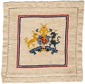 View Linen cover with United Kingdom coat of arms digital asset: Front of linen cover with royal coat of arms of the United Kingdom motif in center, made by French peasant women in French Lorraine during WWI and sold in America through the Society for Employment of Women in France