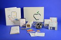 View Apple Macintosh- unlabeled floppy disk digital asset: Documentation, Power Cord, and Stickers for an Apple Macintosh Microcomputer