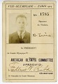 View Olympic Identification Card for Ben Levine at the 1924 Summer Olympic Games, Paris digital asset: Olympic ID Card
