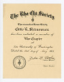 View Certificate, The Rho Chi Society Pharmaceutical Honor Society certificate for Eddie Shimomura, University of Washington in Seattle, 05/23/1934 digital asset number 0