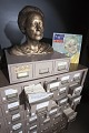 View Phyllis Diller's Gag File digital asset: Phyllis Diller's Gag File containing over 50,000 joke cards with self-made plaster bust and sound recording