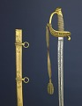View Sword Presented to A. H. Foster digital asset: Presentation sword, given to Captain A.H. Foster by Company D of the 25th Massachusetts Volunteers Regiment, February 8, 1862.