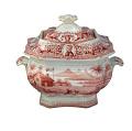 View Pink Log Cabin Patterned Sugar Bowl digital asset number 0